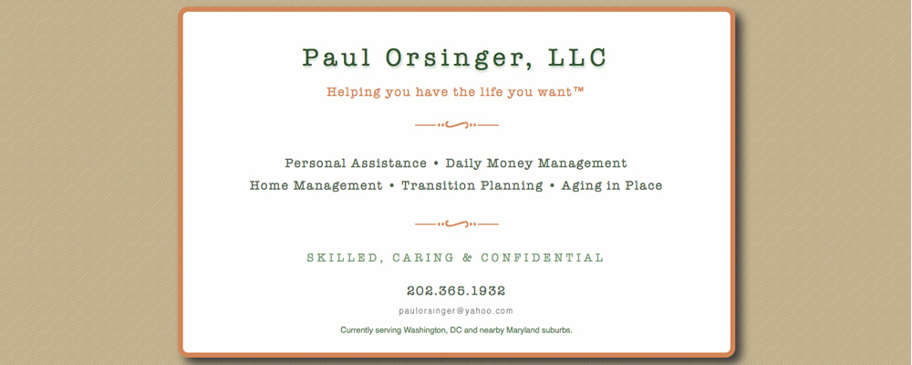 Paul Orsinger LLC website